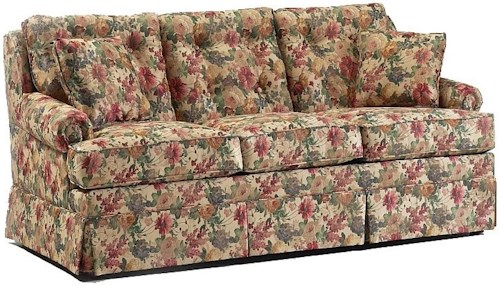 Lancer 610 Casual Sofa with Tufted Back Cushions and Skirted Base