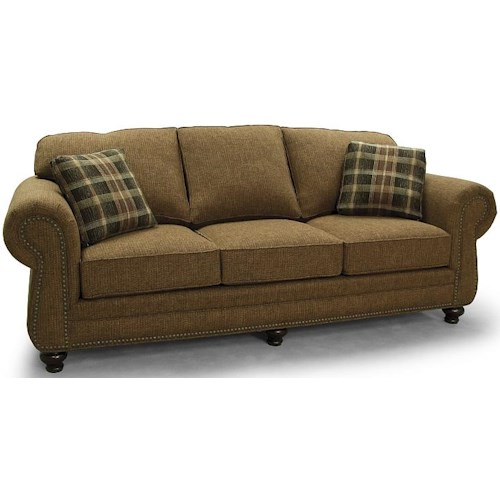 Lancer 700 Transitional Rolled Arm Sofa with Nailhead Accents
