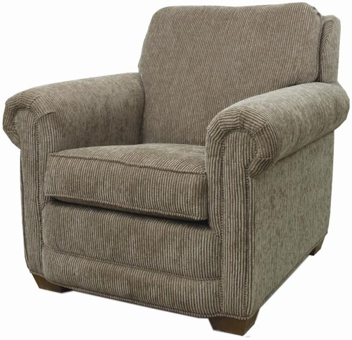 Lancer 80 Upholstered Chair with Rolled Arms and Tapered Wood Feet