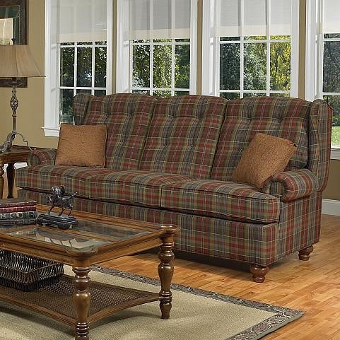 Lancer 9710 Wing Back Camel Back Sofa with Turned Feet