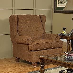 Lancer 9710 Upholstered Wing Chair with Turned Bun Feet