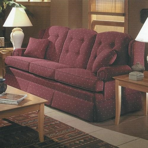 Lancer 9800 Traditional Kick Skirt Sofa with Button Tufts