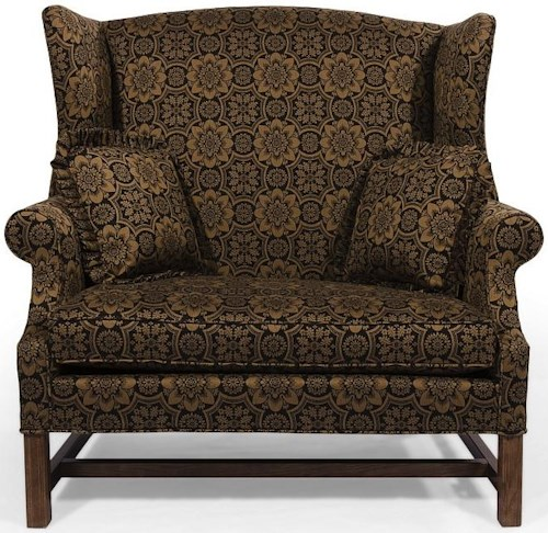 Lancer HomeSpun Wing Back Chair and a Half with Rolled Arms