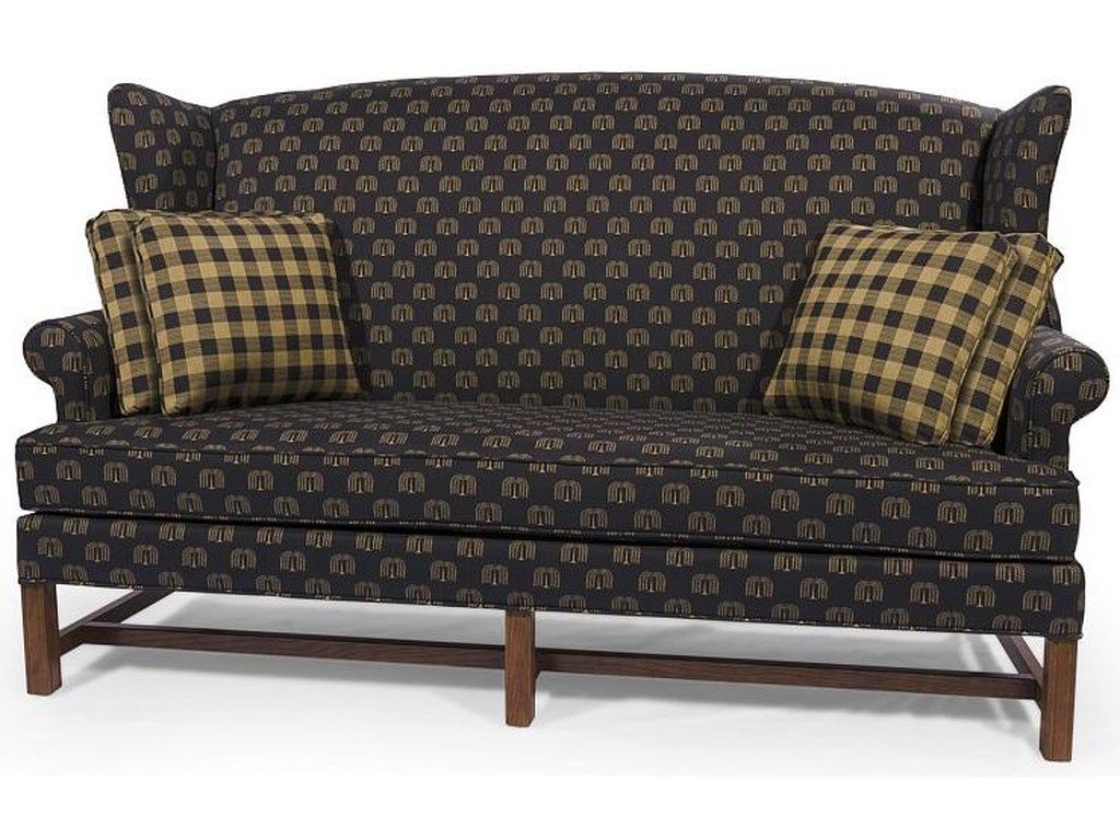 Homespun Wing Back Sofa With Rolled Arm