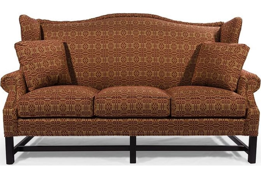 HomeSpun High Wing Back Sofa with Rolled Arms by Lancer at H.L. Stephens