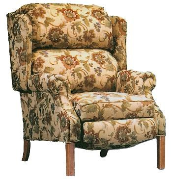Lancer Stand Alone Chairs Traditional High Back Recliner With Oak  Chippendale Leg