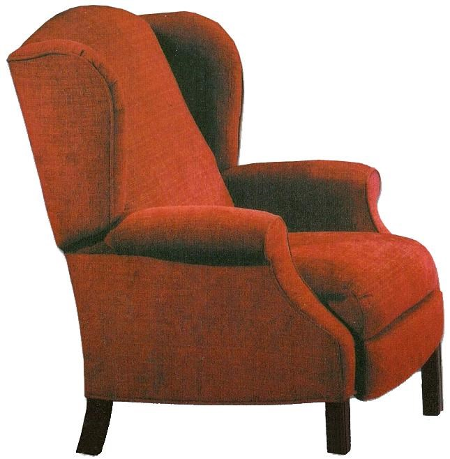 High Back Recliner With Cherry Chippendale Legs