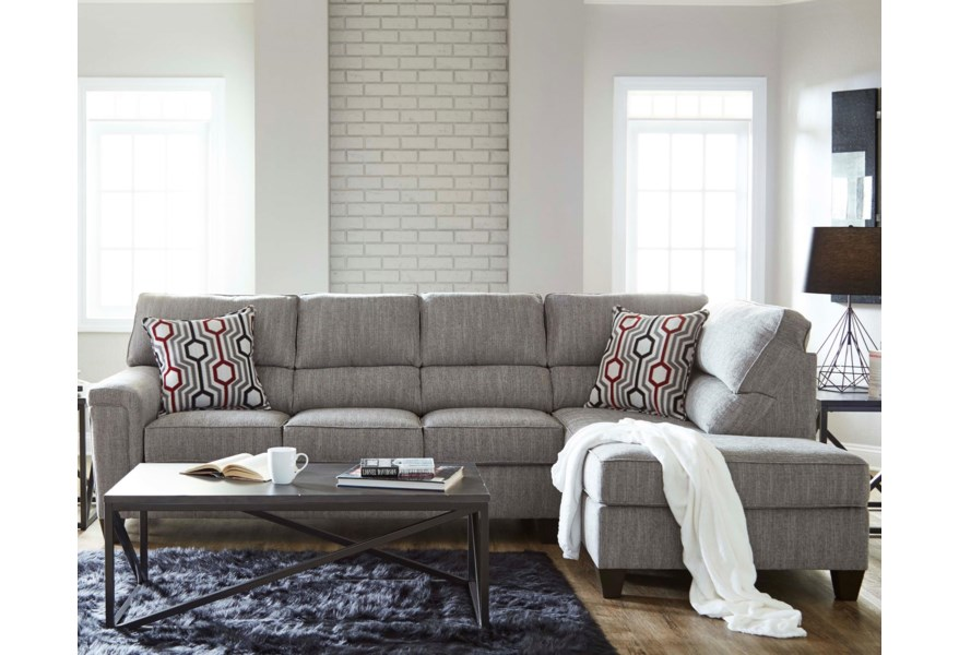 Lane 2015 Casual Contemporary Sectional with Bump Chaise ...