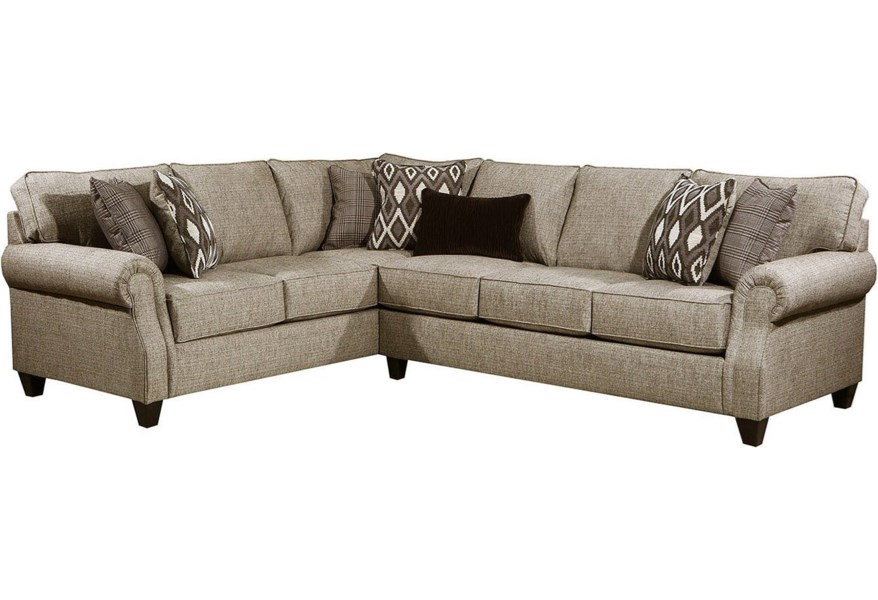 Lane 8010 Casual 2-Piece Sectional with Rolled Arms   Story ...