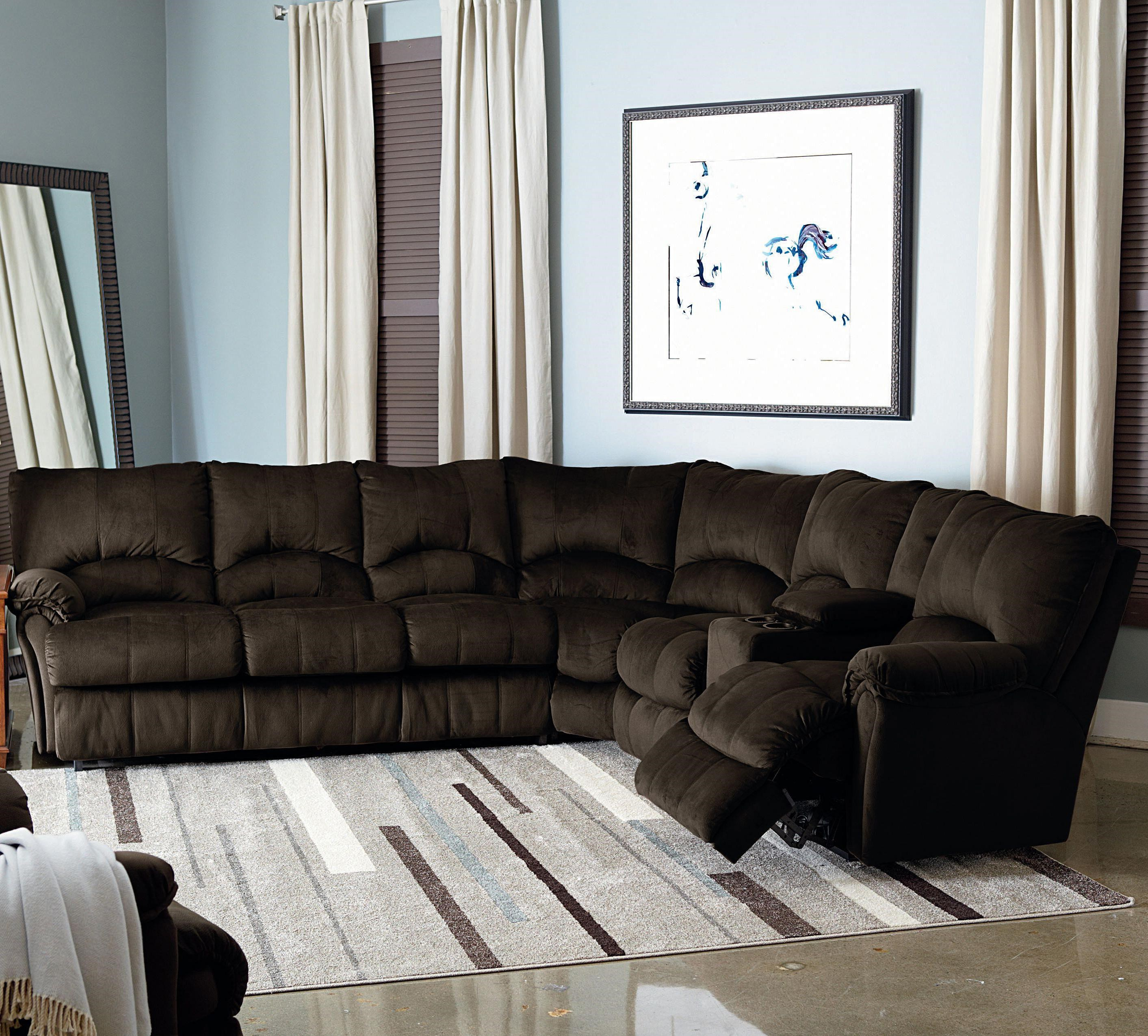 Lovely Lane Alpine Power Reclining Sectional With Storage Console And Queen Sleeper