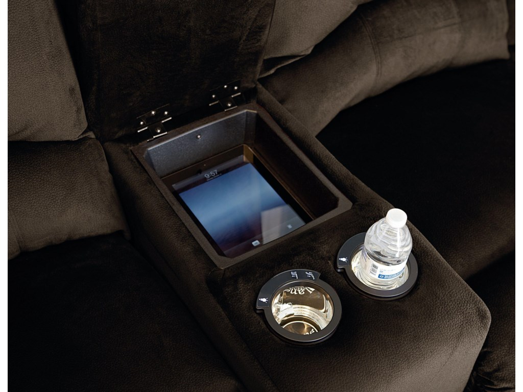 Storage Console and Built-in Cupholders