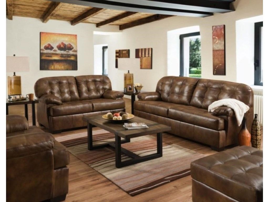 Lane Home Furnishings StevensLeather Sofa and Loveseat