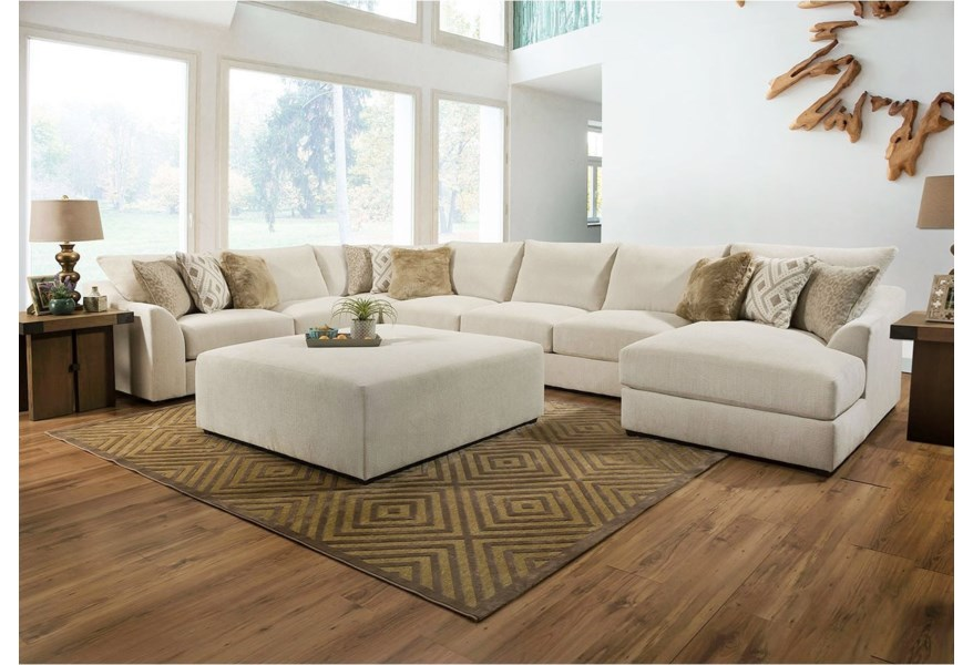 Lane Vivian Casual 5 Piece Sectional Sofa With Chaise Powell S Furniture And Mattress Sectional Sofas