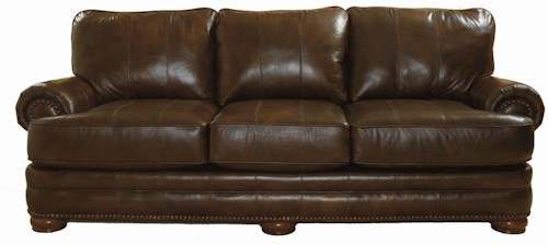 Lane Stanton Stationary Sofa With Nailhead Trim And Wood Accents