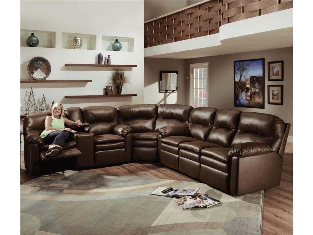 Shown As Sectional Component With Double Reclining Console Sofa and Wedge