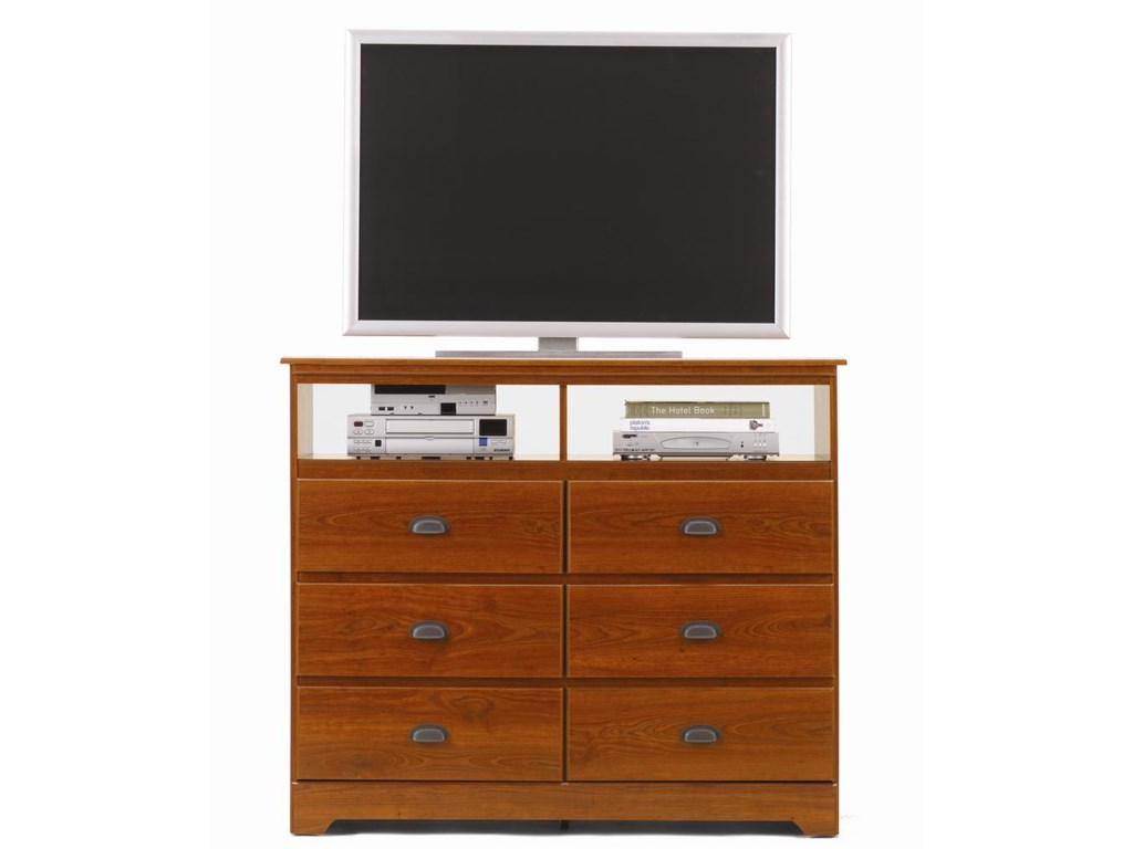 Lang Bayfield6 Drawer Media Dresser with Roller Glides