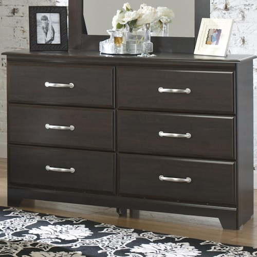 Lang Berlin 6-Drawer Dresser with Block Feet and Silver Drawer Pulls