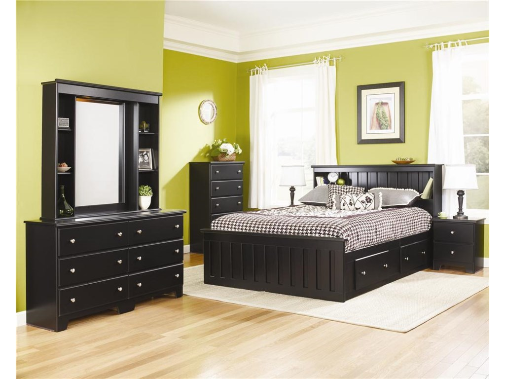 Lang ColumbiaFull Bookcase Captains Bed