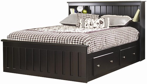 Lang Columbia Queen 2 Drawer Bookcase Captains Bed with Shelf