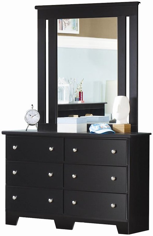 Lang Columbia Classic 6 Drawer Dresser & Framed Mirror Set