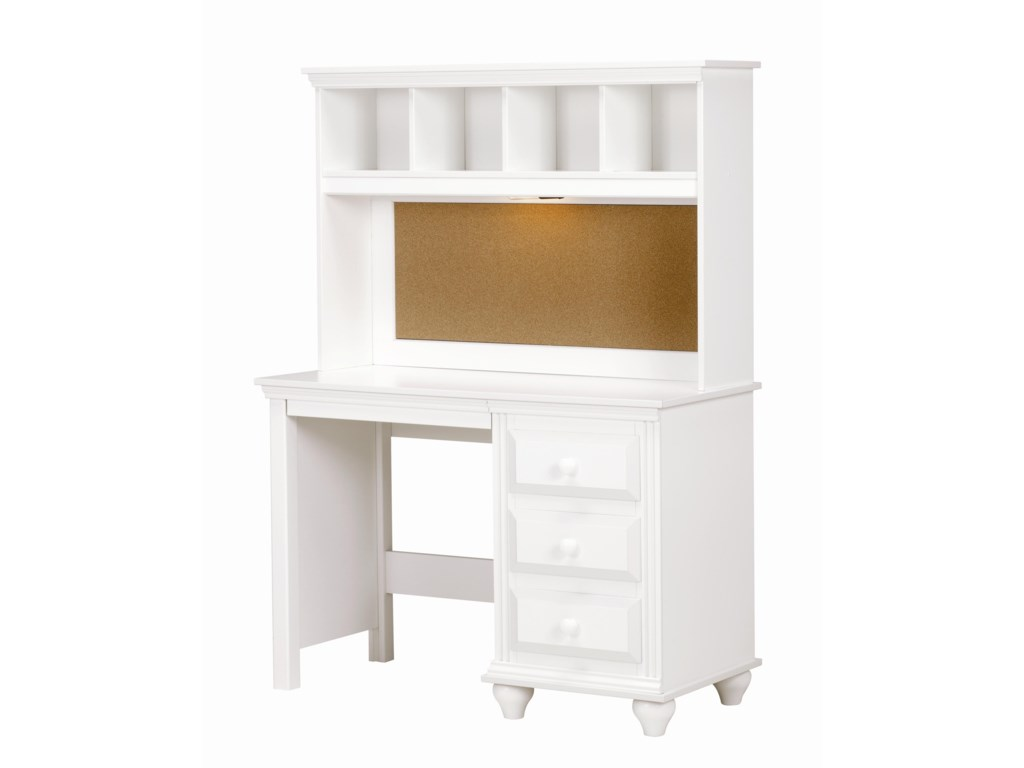Lang Madison4 Drawer Desk and Hutch with Light