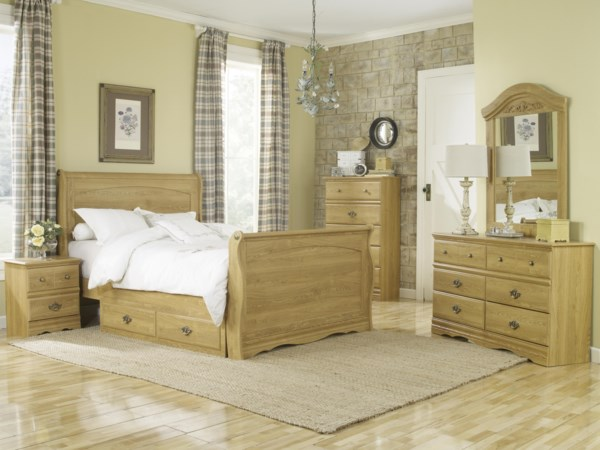 Queen Sleigh Bed with Storage Bedroom Group