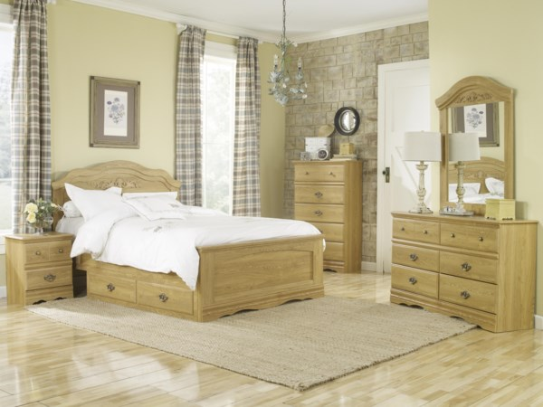 Queen Panel Bed with Storage Tray Bedroom Gr