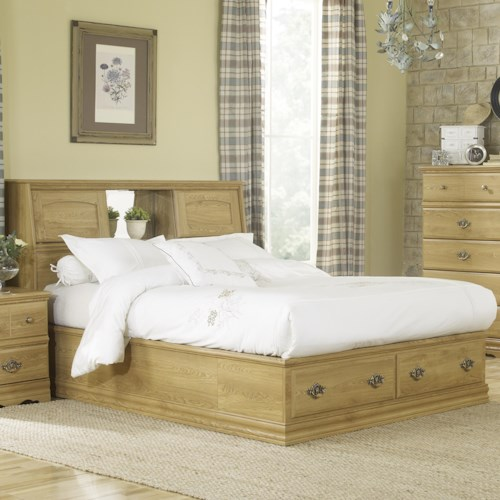 Lang Oak Creek Queen Bookcase Bed with 2 Footboard Drawers