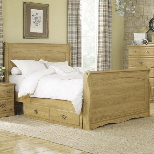 Lang Oak Creek King Sleigh Bed with Underbed Storage Tray