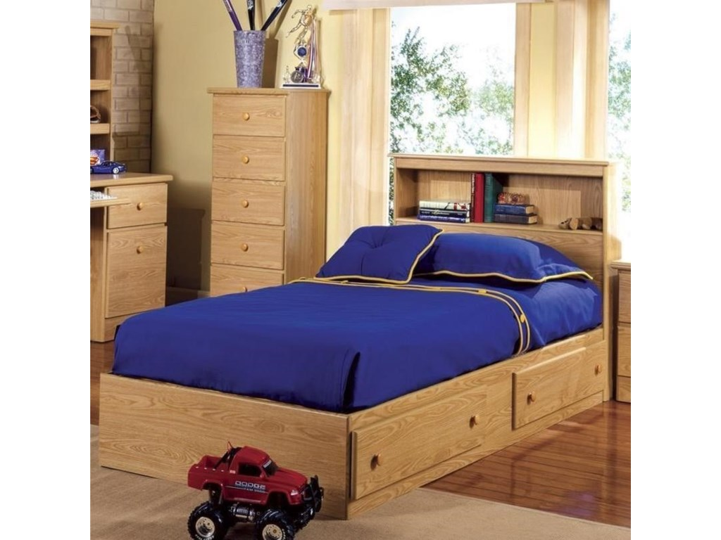 Lang ShakerTwin Bookcase Headboard w/ Mate's Bed Base