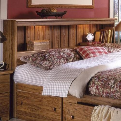 Lang Shaker Full Queen Bookcase Headboard With Lights Bed