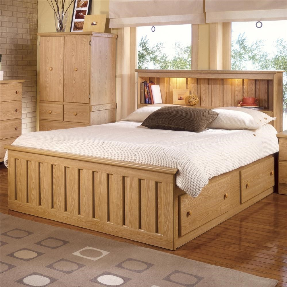 lang shaker queen bookcase bed with under bed drawer storage and interior lighting