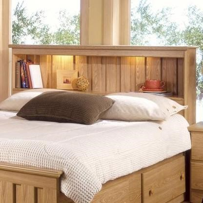 Shaker King Book Case Headboard With Lights