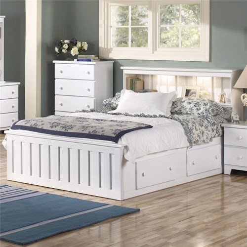 Lang Shaker Queen Bookcase Bed With Under Drawer Storage And Interior Lighting
