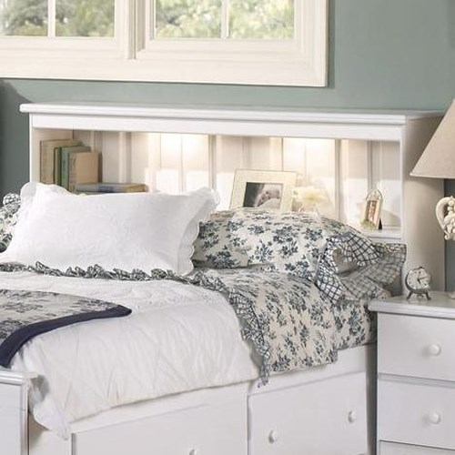 Cal King Bookcase Headboard: Lang Shaker Full/Queen Bookcase Headboard With Lights