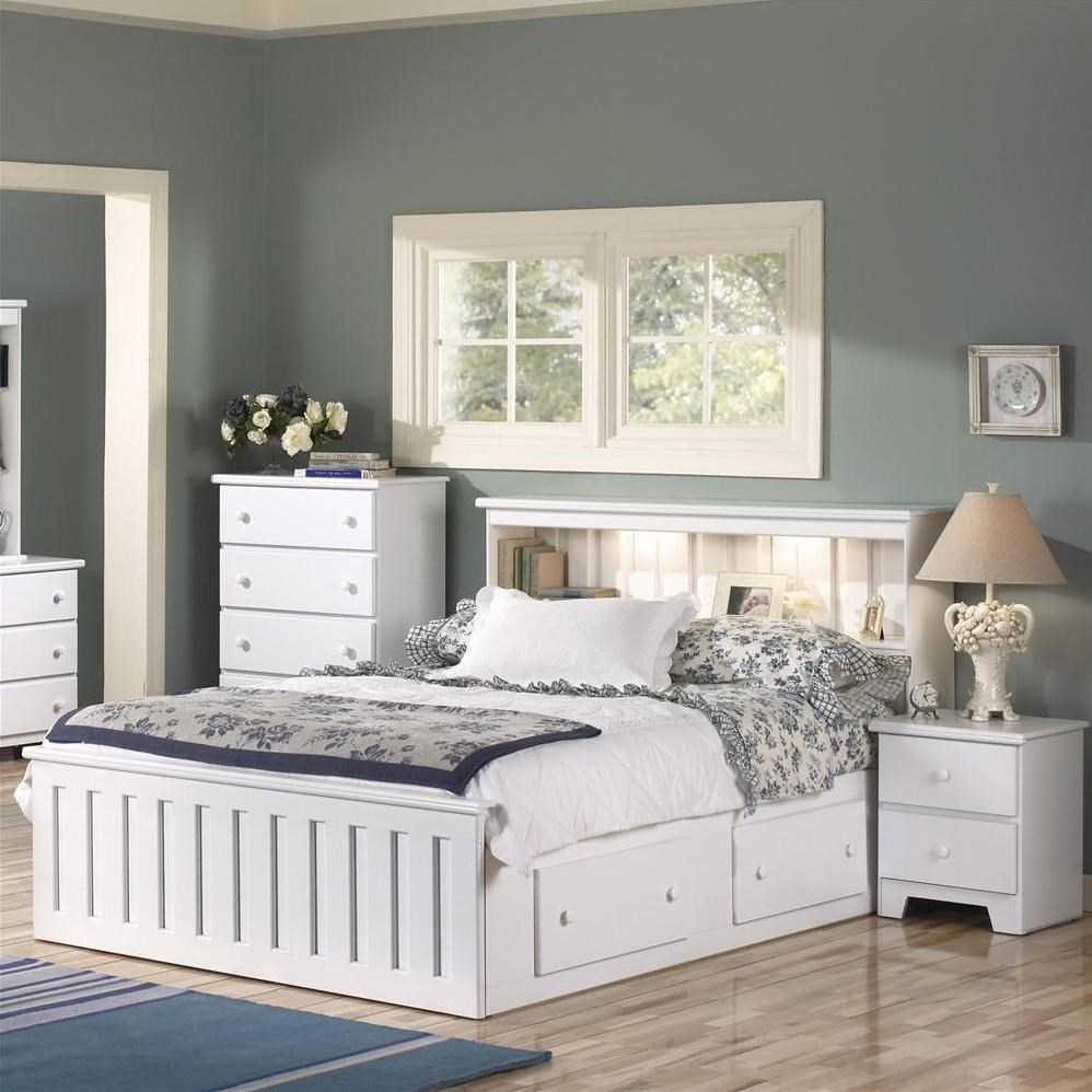 Lang Shaker Full Queen Bookcase Headboard With Lights A1