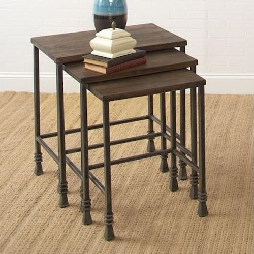 Largo Accent Tables Three Pack Stack Tables with Iron Bases