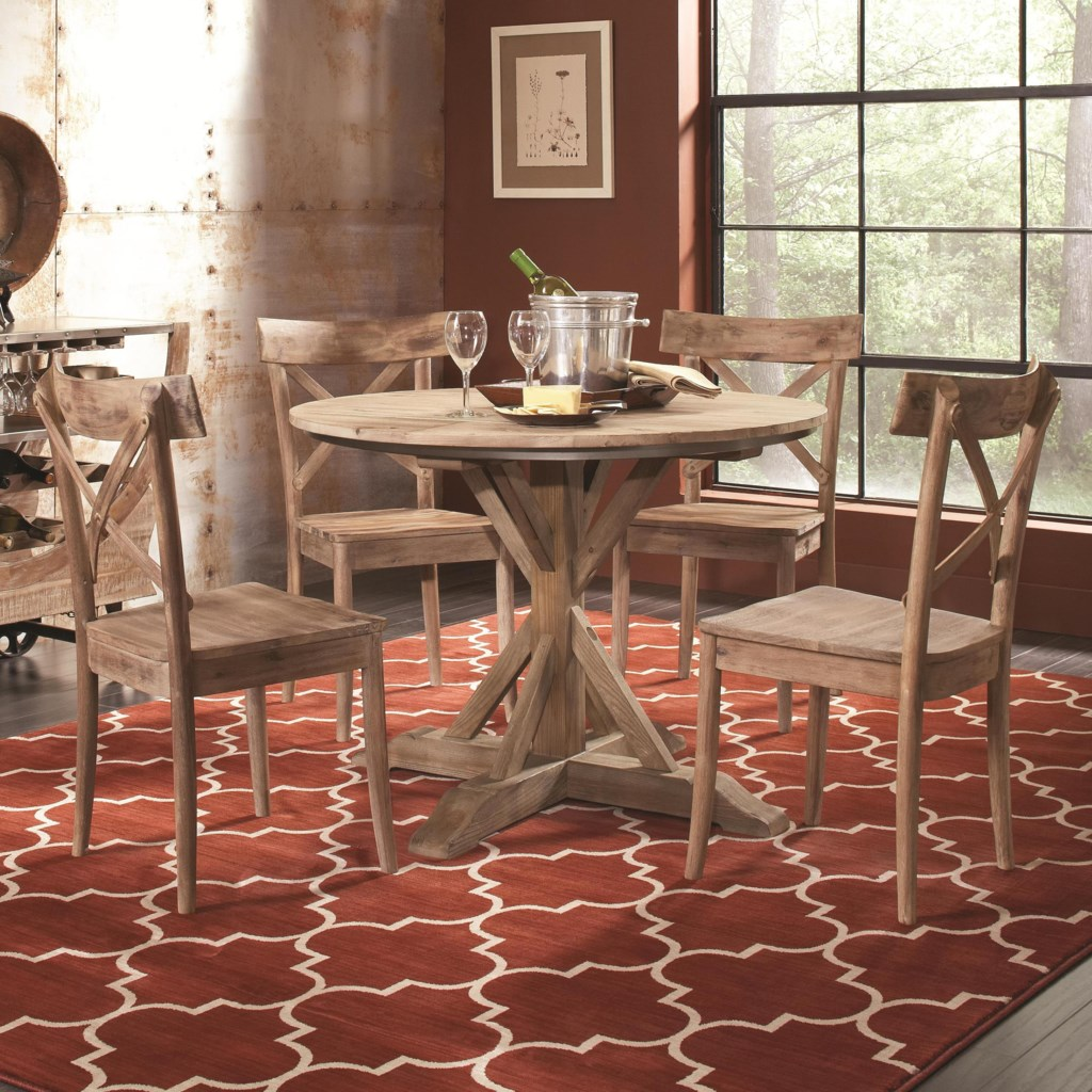 Largo callista rustic casual round dining table and side chair set