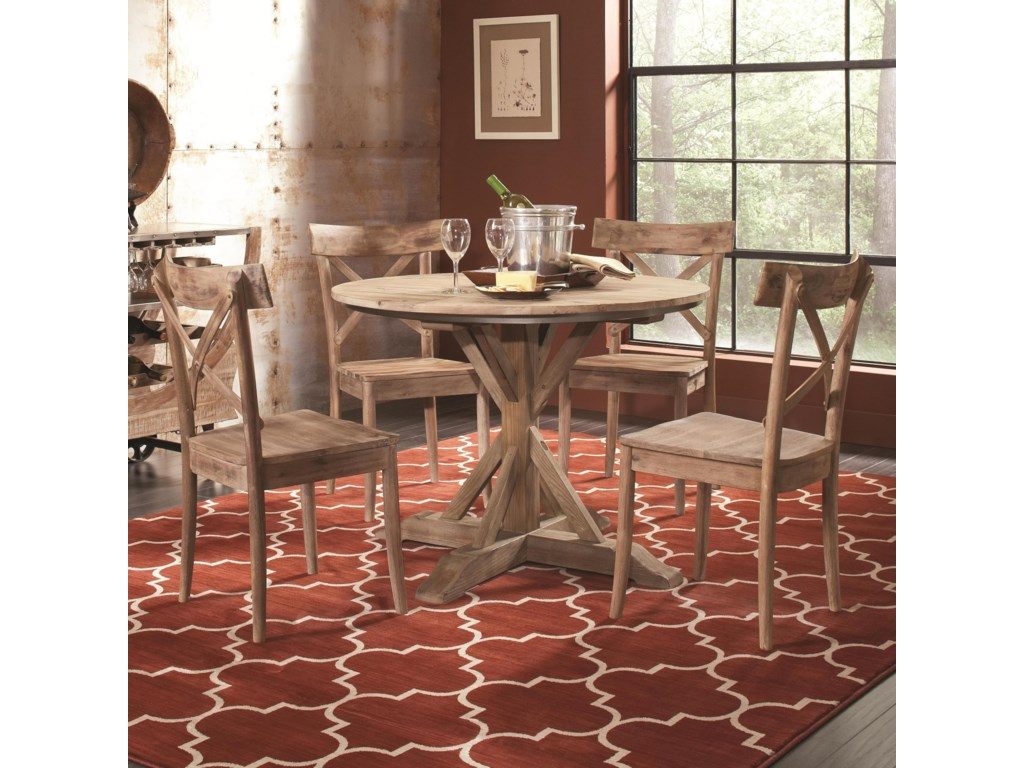 Callista Rustic Casual Round Dining Table and Side Chair Set by Largo at  Baer\'s Furniture