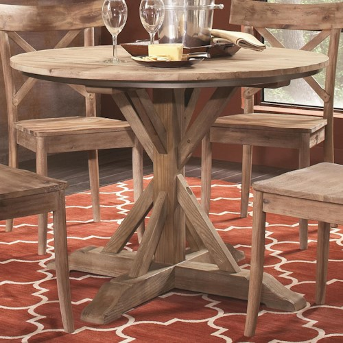 Largo callista rustic casual round pedestal table lindy for Furniture 500 companies
