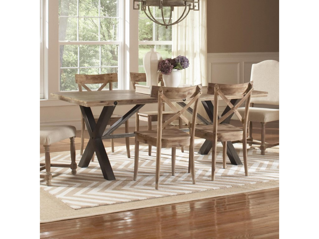 Largo Callista Rustic Casual Rectangular Trestle Table Lindy S