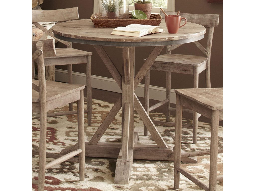 Callista Rustic Casual Round Counter Height Pedestal Table By Largo