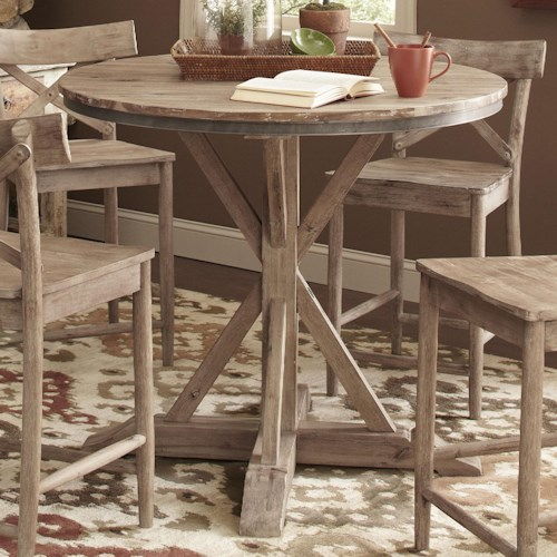 Largo Callista Rustic Casual Round Counter Height Pedestal Table