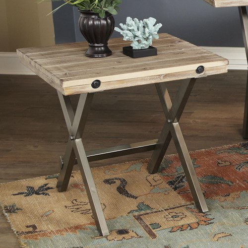 Largo Callista Rustic Casual Square End Table with Metal Details