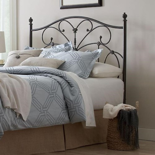 Largo Fanfare King Metal Headboard with Scrolling Accents and Carved Details