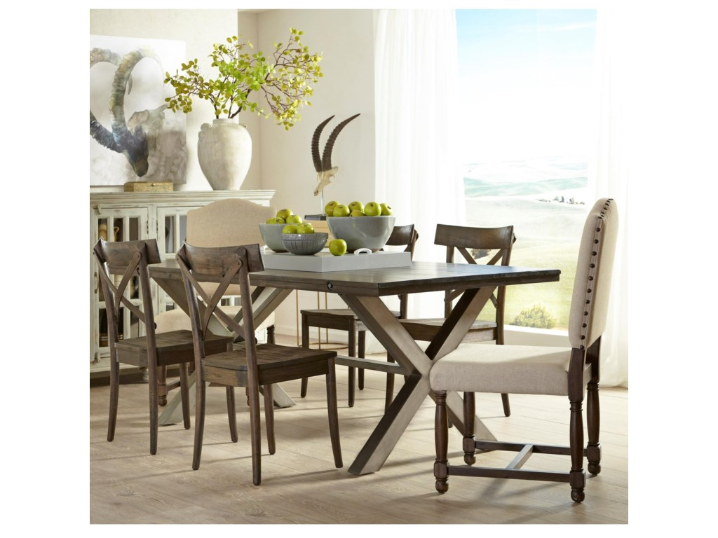 Lance 7 Piece Dining Set with Trestle Table and Upholstered Chairs by Largo  at Lindy\'s Furniture Company