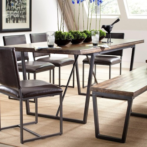 Largo Plaza Rectangular Dining Table With Metal Trestle Base