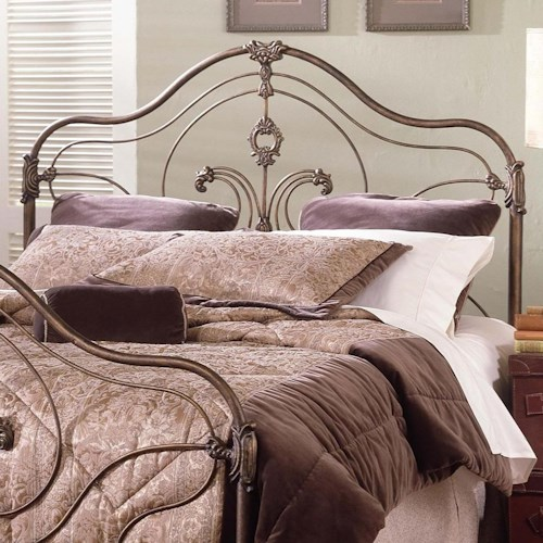 Largo Provence King Steel and Aluminum Headboard with Antique Gold Finish and Hand Painted Accents