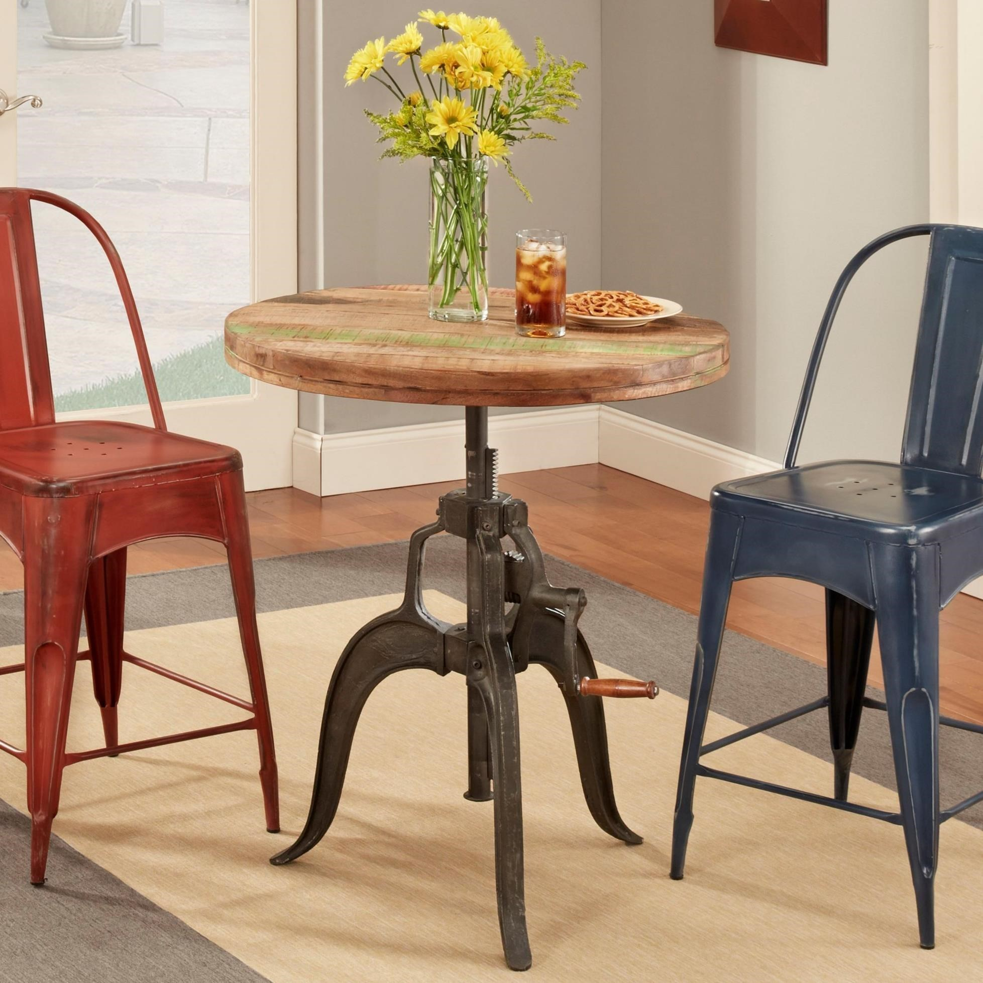 Largo Rustic CollectiblesRound Wood Adjustable Height Table ...
