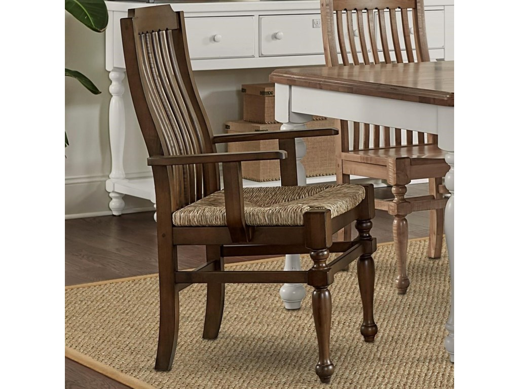 Scotsman Rustic Solid Wood Seagrass Seat Arm Chair by Laurel Mercantile Co.  at Furniture Barn